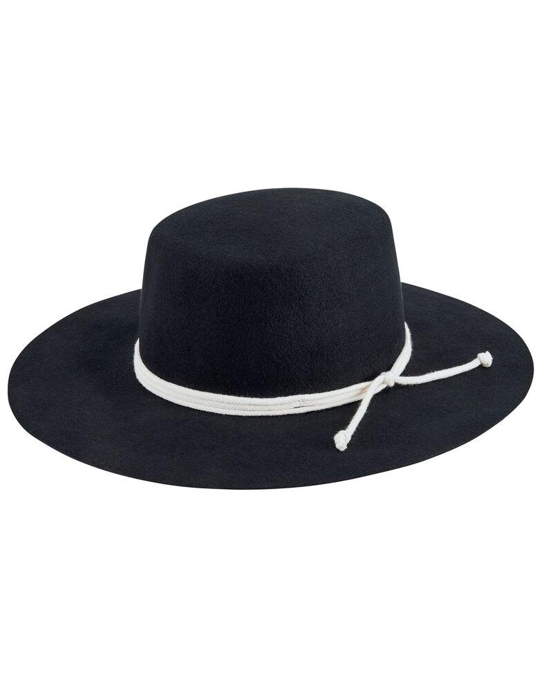 San Diego Hat Company Women's Black Wide Rope Trim Wool Felt Boater Hat, Black, hi-res