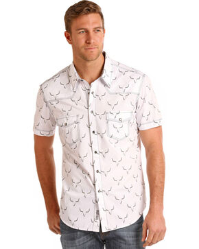 Rock & Roll Cowboy Men's Crinkle Wash Steer Skull Short Sleeve Shirt, White, hi-res