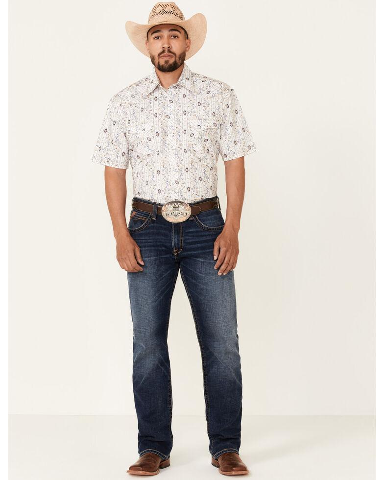 Rough Stock By Panhandle Men's Aztec Floral Print Short Sleeve Snap Western Shirt, Brown, hi-res
