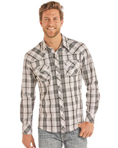 Rock & Roll Cowboy Men's Grey Crinkle Poplin Plaid Long Sleeve Western Shirt , Grey, hi-res