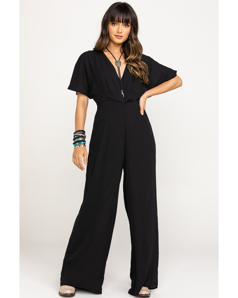 Stetson Women's Black Tie-Back Wide Leg Jumpsuit, Black, hi-res