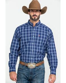 Ariat Men's Gadson Plaid Long Sleeve Western Shirt - Tall , Blue, hi-res