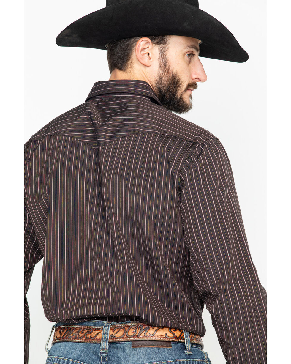 Panhandle Men's Striped Special 80/20 Snap Long Sleeve Western Shirt , Brown, hi-res