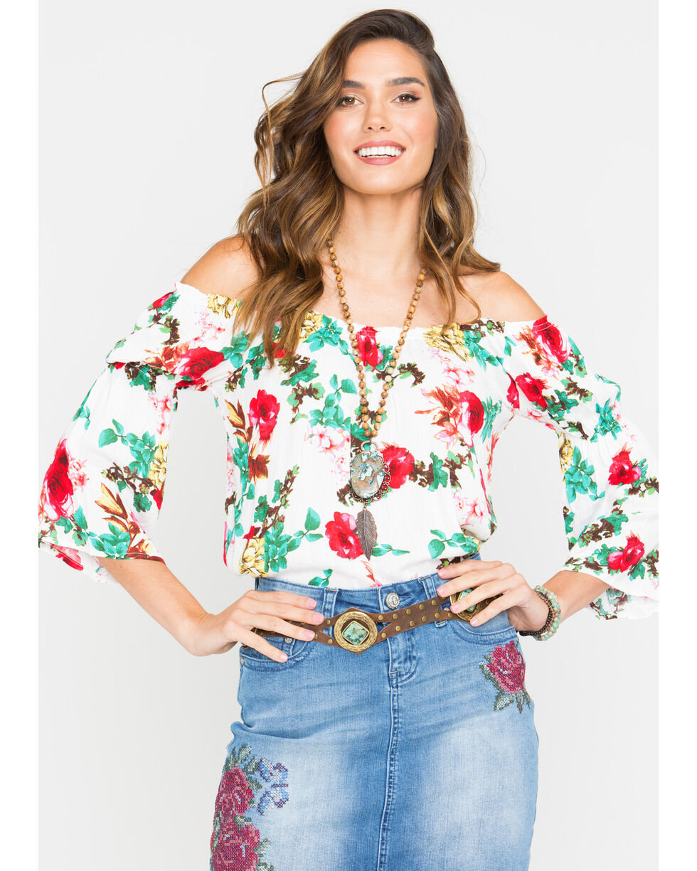 Panhandle Women's Floral Print Crinkle Off-the-Shoulder Peasant Top, White, hi-res