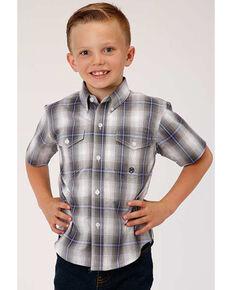 Amarillo Boys' Grey Shadow Plaid Short Sleeve Western Shirt , Grey, hi-res
