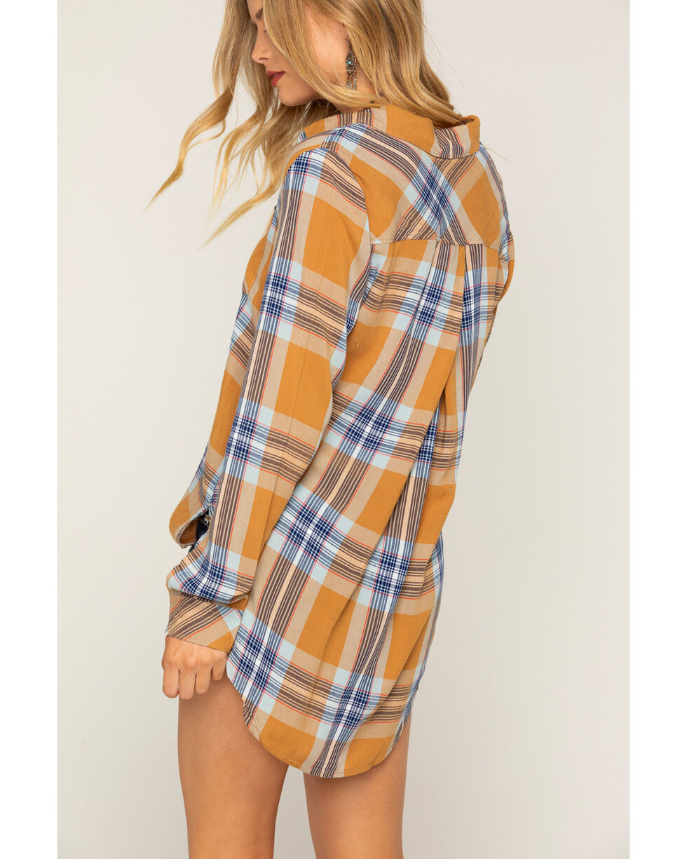 Shyanne® Women's Plaid Long Sleeve Button Down Shirt, Rust Copper, hi-res