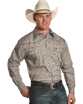 Cowboy Hardware Men's Beige Scroll Printed Long Sleeve Western Shirt, Beige/khaki, hi-res