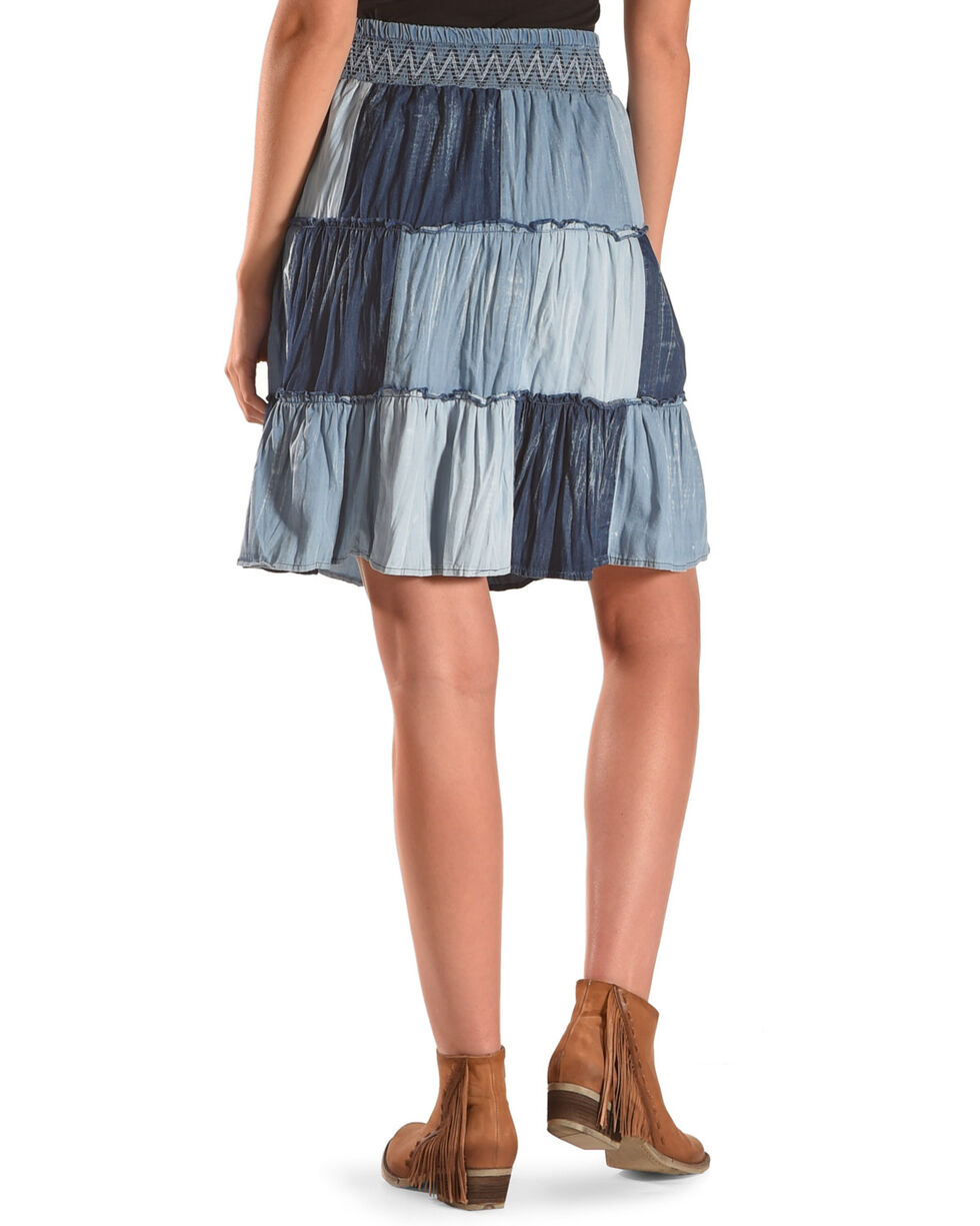 New Direction Sport Women's Denim Patchwork Skirt , Indigo, hi-res