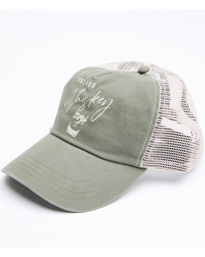 Shyanne Women's Just Add Whiskey Mesh Cap , Olive, hi-res