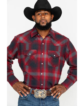 Ely Cattleman Men's Red 8.5 Oz Brawny Flannel Long Sleeve Western Shirt - Tall , Burgundy, hi-res