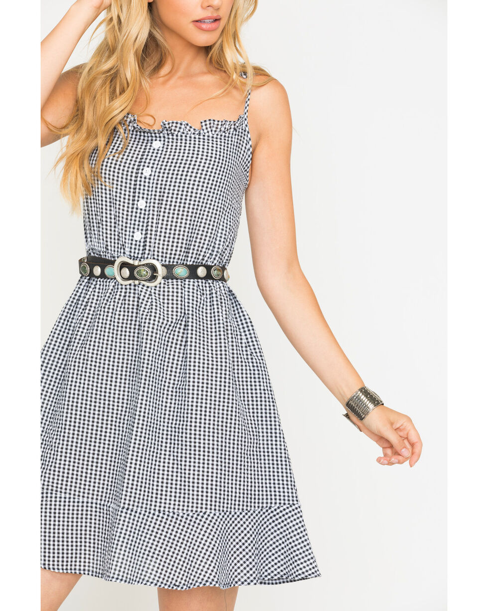 Sage the Label Women's Gingham Stay A While Dress , Black, hi-res