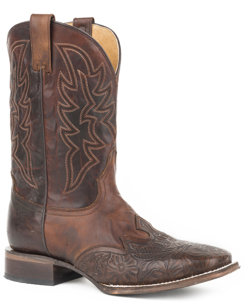 Roper Men's Jagger Stamped Tooled Leather Wingtip Cowboy Boots - Square Toe, Brown, hi-res