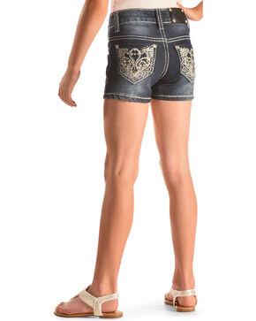 Rodeo Girl Scroll Embellished Pocket Denim Shorts , Indigo, hi-res