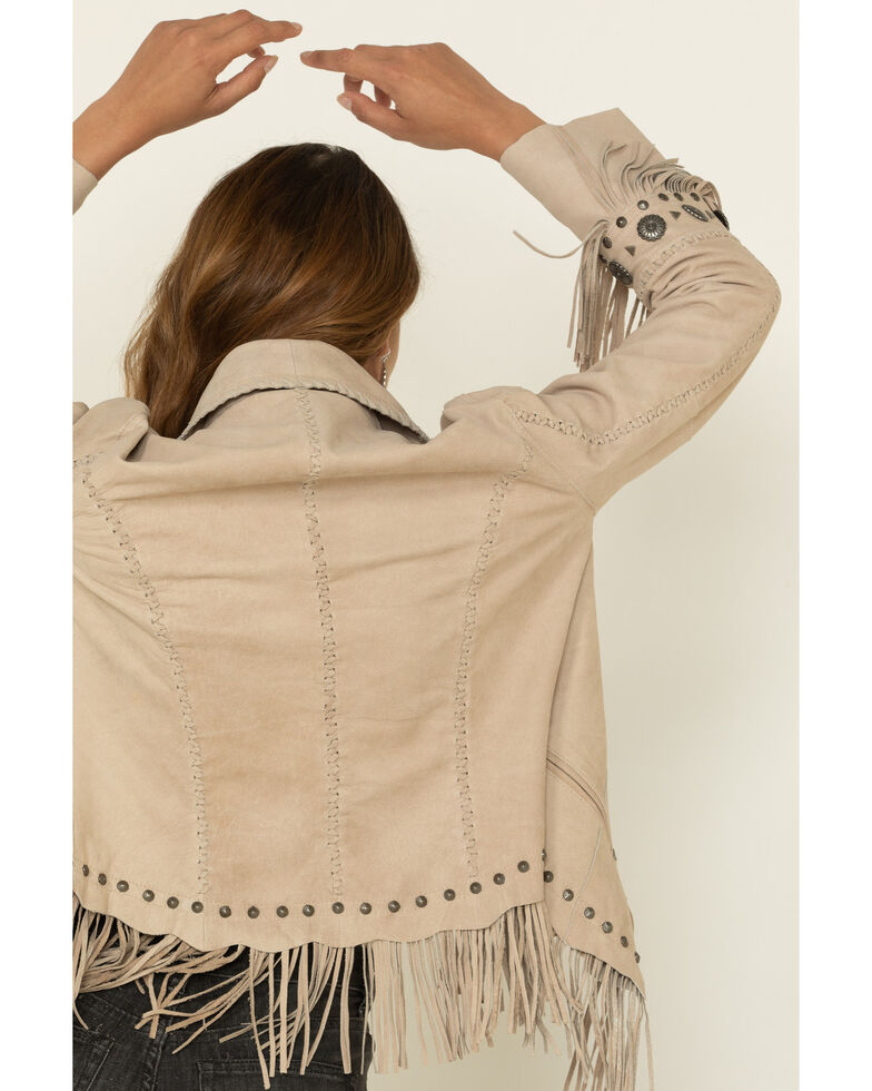 Cripple Creek Women's Bone Open Front Studded Jacket, Ivory, hi-res