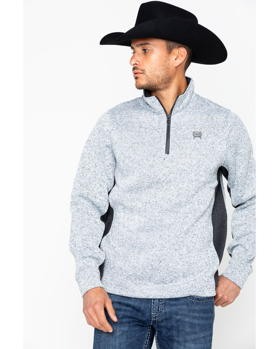 Cinch Men's Heather Grey 1/4 Zip Sweater Pullover, Heather Grey, hi-res