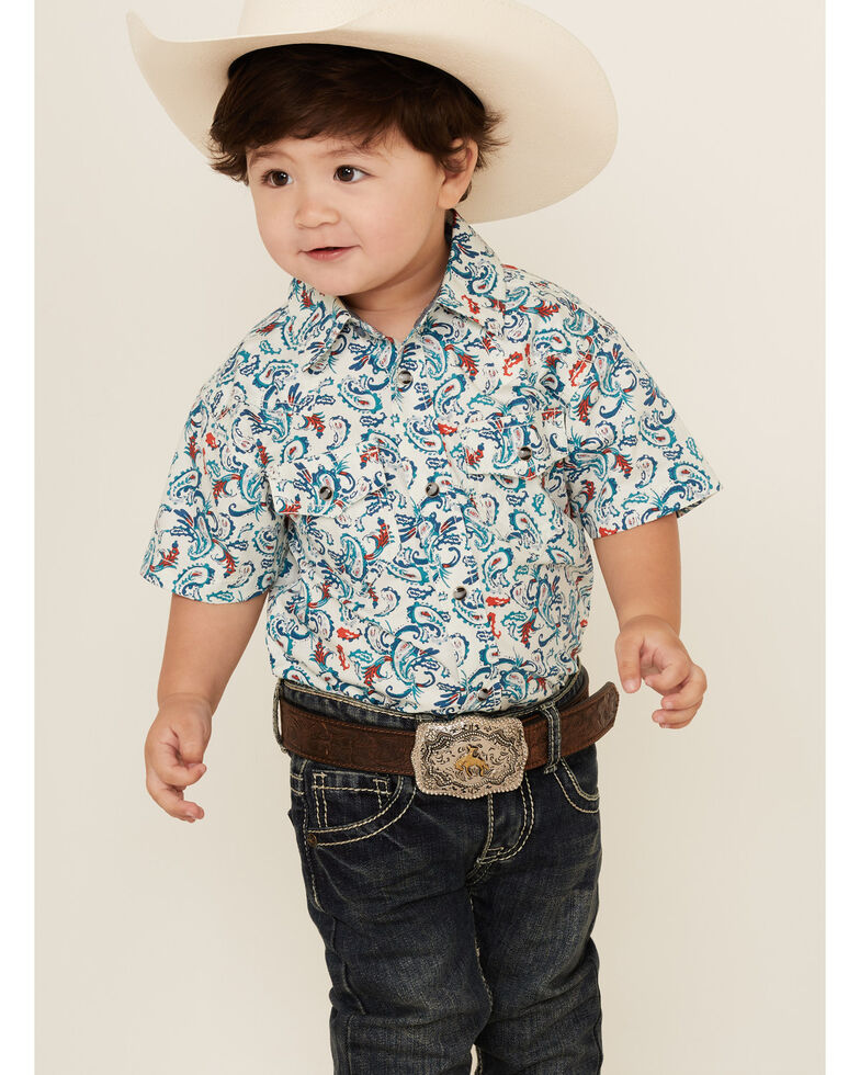 Cody James Toddler Boys' City Lights Paisley Print Short Sleeve Snap Western Shirt , Ivory, hi-res
