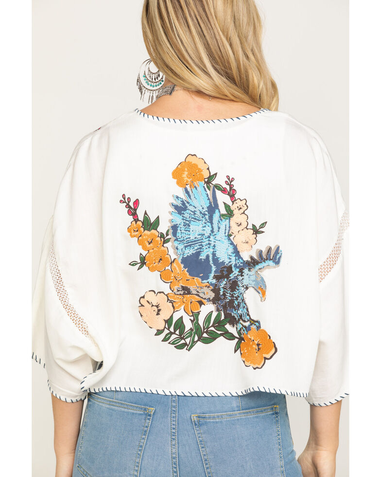 Ariat Women's Eagle Dream Kimono , Ivory, hi-res