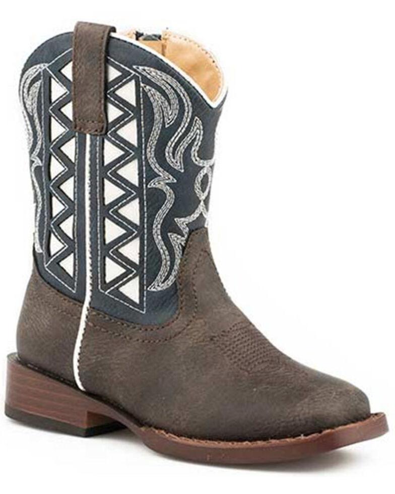Roper Toddler Girls' Blue Askook Western Boots - Square Toe, Blue, hi-res