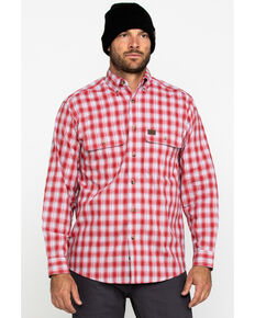 Wrangler Riggs Men's Red Plaid Long Sleeve Work Shirt , Red, hi-res
