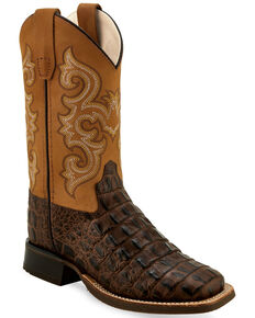 Old West Boys' Gator Print Western Boots - Wide Square Toe, Brown, hi-res
