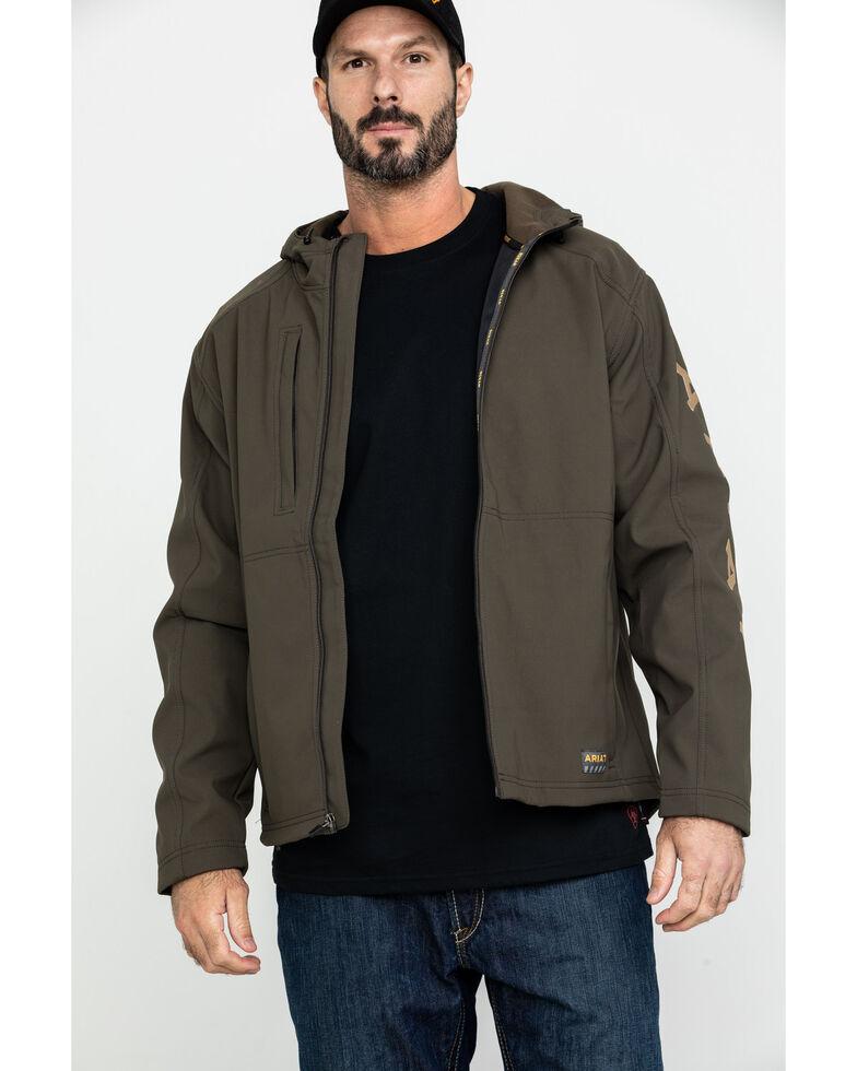 Ariat Men's Rebar Stretch Canvas Softshell Hooded Logo Work Jacket - Big & Tall , Loden, hi-res