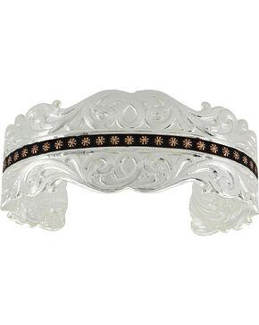 Montana Silversmiths Women's Rose Gold Star Cuff Bracelet , Silver, hi-res