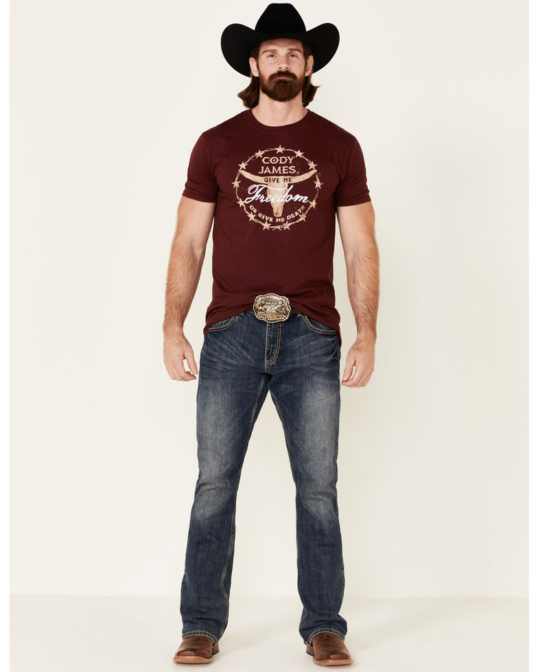 Cody James Men's Give Me Freedom Graphic Short Sleeve T-Shirt , Burgundy, hi-res