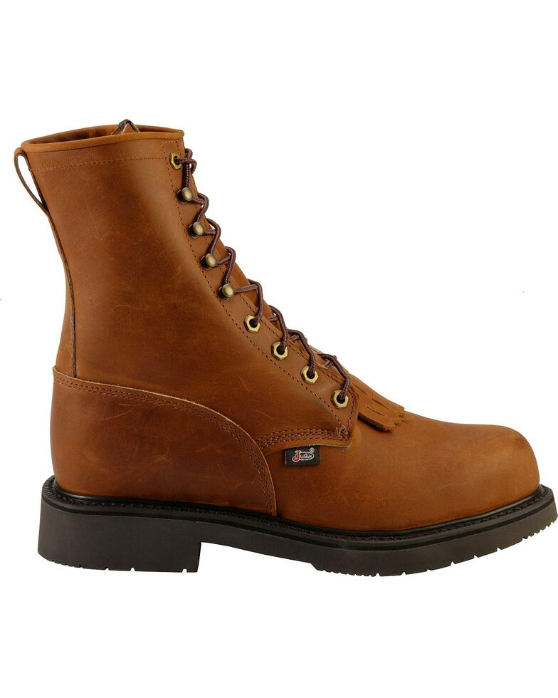 "Justin Men's Double Comfort 8"" Lace-Up Work Boots, Bark, hi-res"