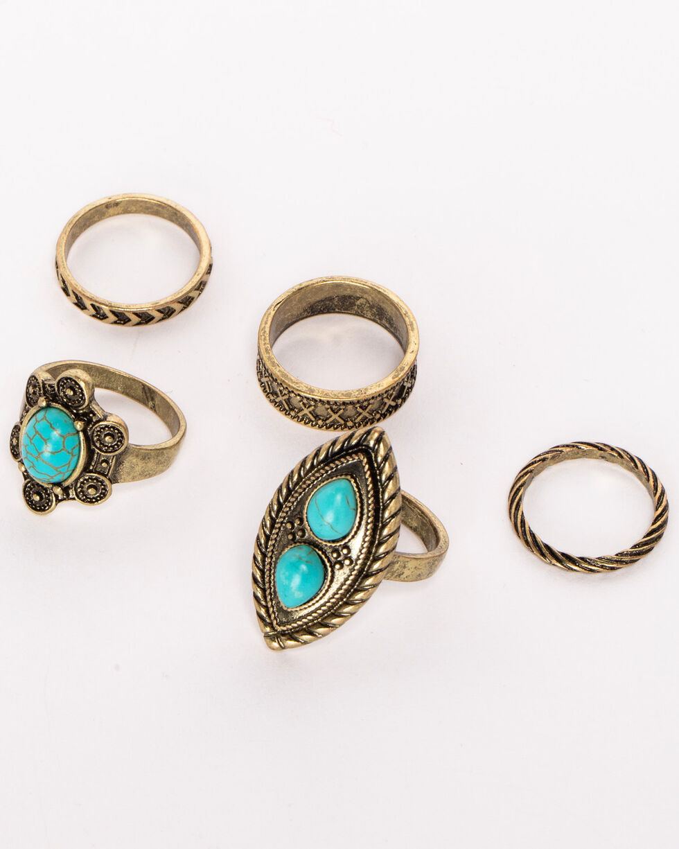 Shyanne Women's Turquoise Golden Ring Set, Gold, hi-res