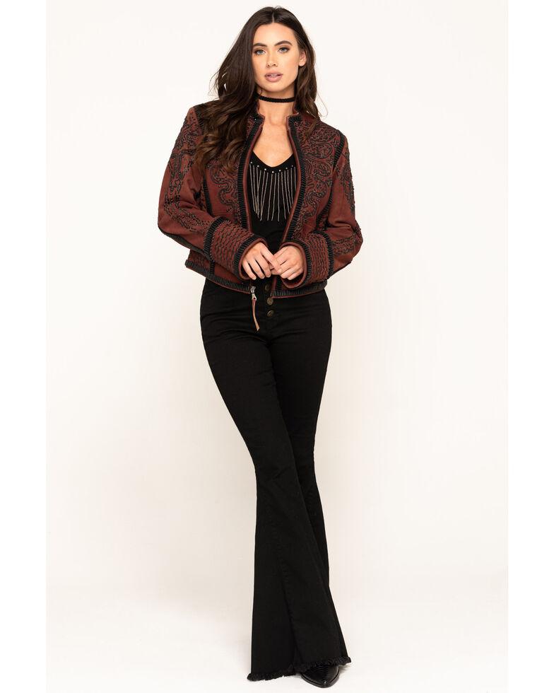Double D Ranchwear Women's Oxblood Plaza Charro Jacket, Red, hi-res