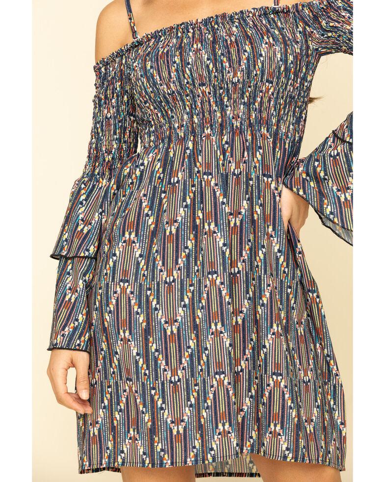 Molly Bracken Women's Zigzag Cold Shoulder Bell Sleeve Dress, Beige/khaki, hi-res