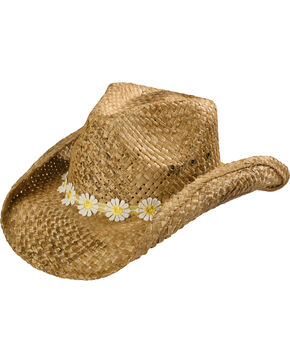 Shyanne® Girls' Daisy Straw Hat , Brown, hi-res