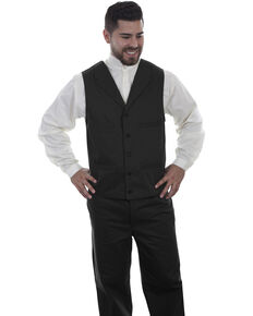 Scully Men's Herringbone Black Vest, Black, hi-res