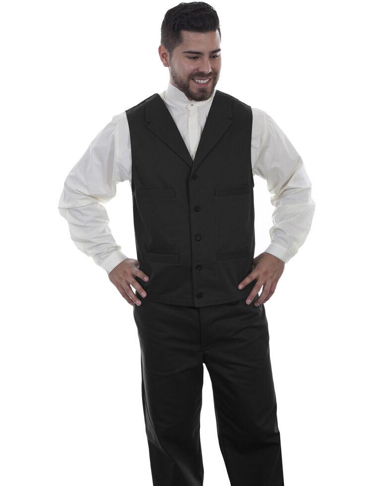 Scully Men's Herringbone Black Vest, Black, hi-res