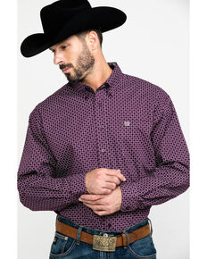 Cinch Men's Purple Square Geo Print Long Sleeve Western Shirt - Big , Purple, hi-res