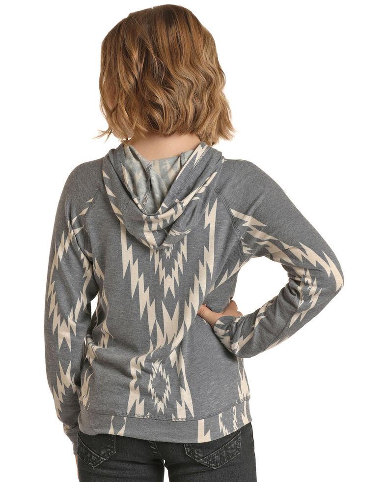 Rock & Roll Denim Girls' Grey Aztec Pullover Hoodie, Grey, hi-res