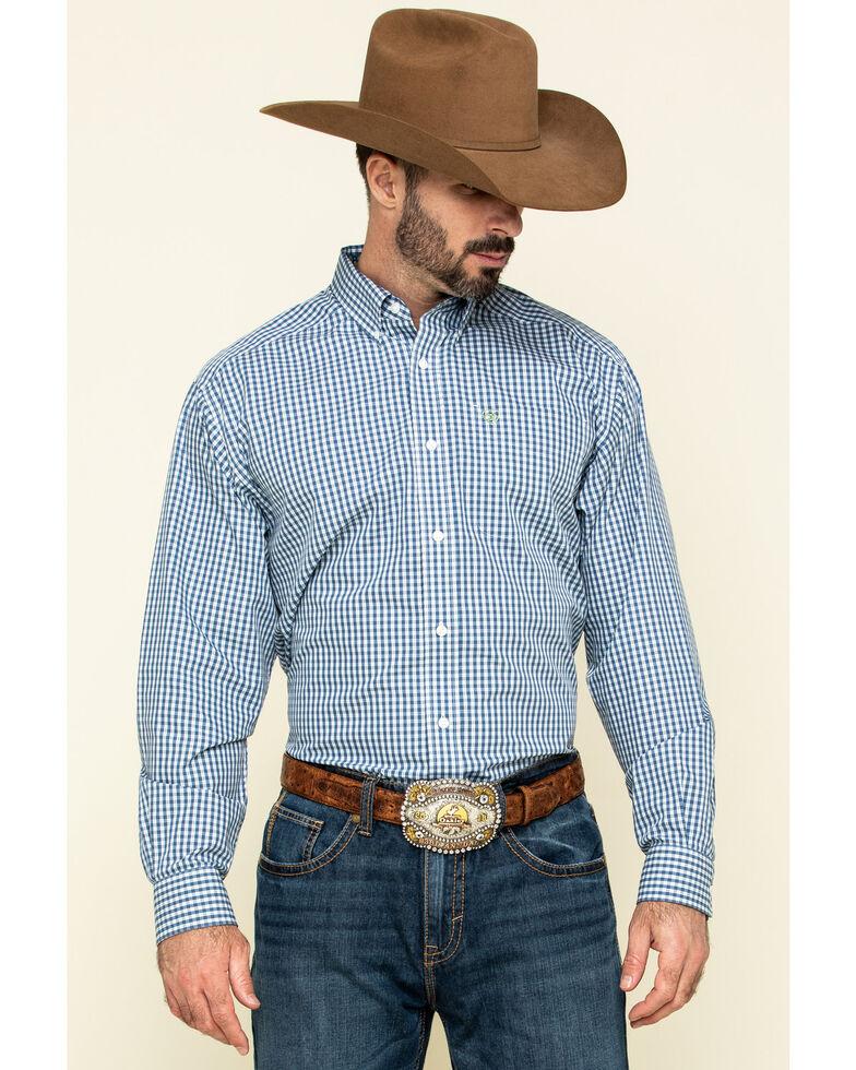Ariat Men's Wrinkle Free Zestmont Small Plaid Long Sleeve Western Shirt - Big, Blue, hi-res