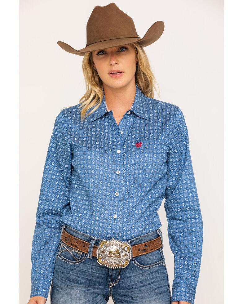Cinch Women's Blue Tile Print Tencel Button Core Long Sleeve Western Shirt, Blue, hi-res
