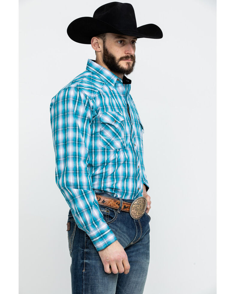 f64c952439f Ely Cattleman Men s Teal Textured Dobby Plaid Long Sleeve Western Shirt