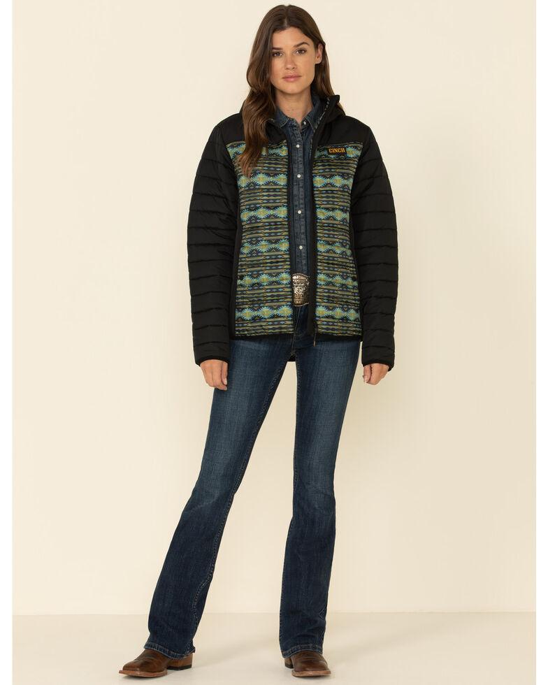 Cinch Women's Geo Pattern Zip-Front Hooded Jacket , Purple, hi-res