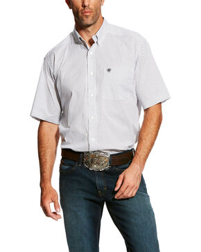 Ariat Men's Gearheart Stretch Geo Print Short Sleeve Western Shirt - Big & Tall , White, hi-res