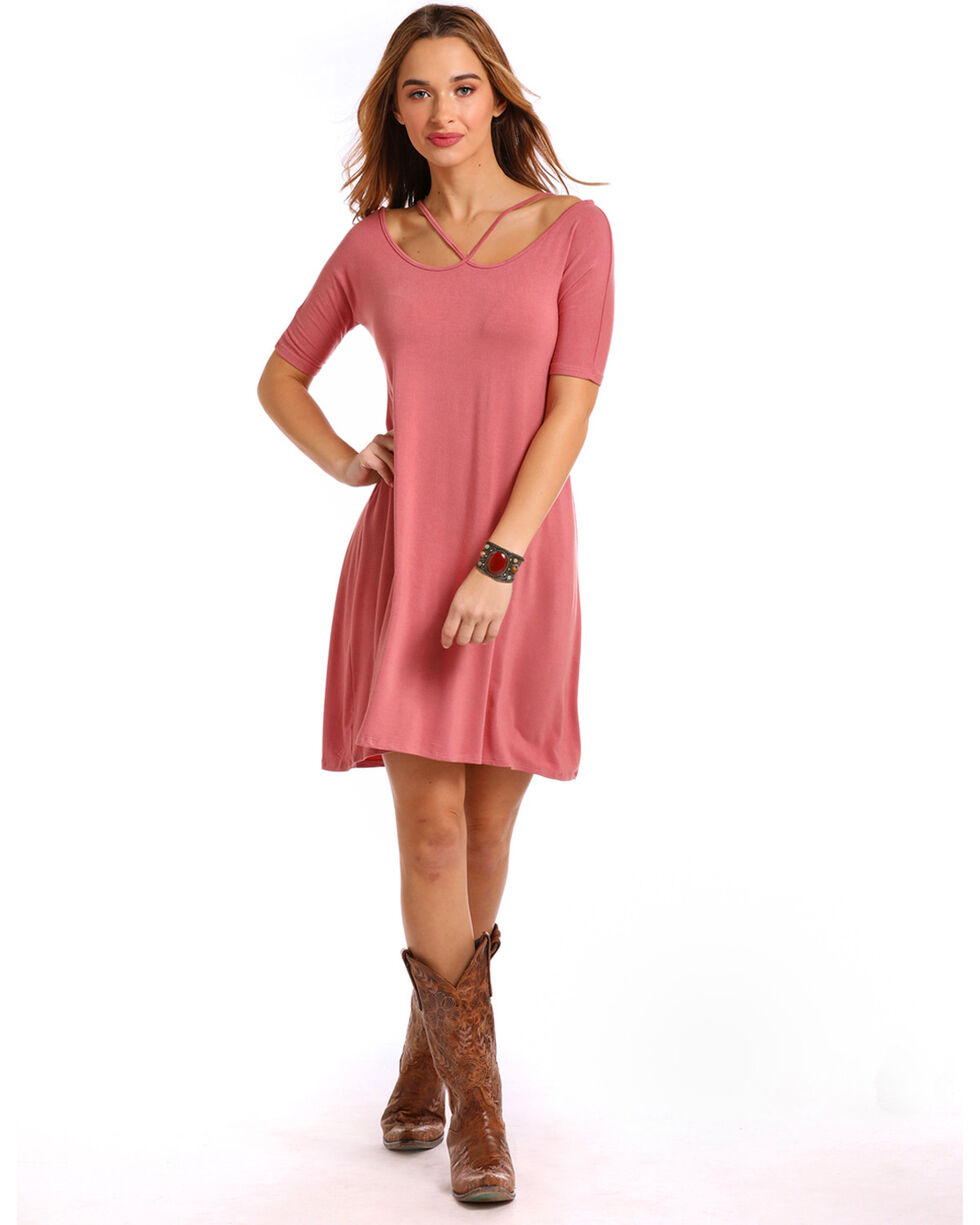 Panhandle Women's Pink Criss Cross Short Sleeve Swing Dress, Pink, hi-res