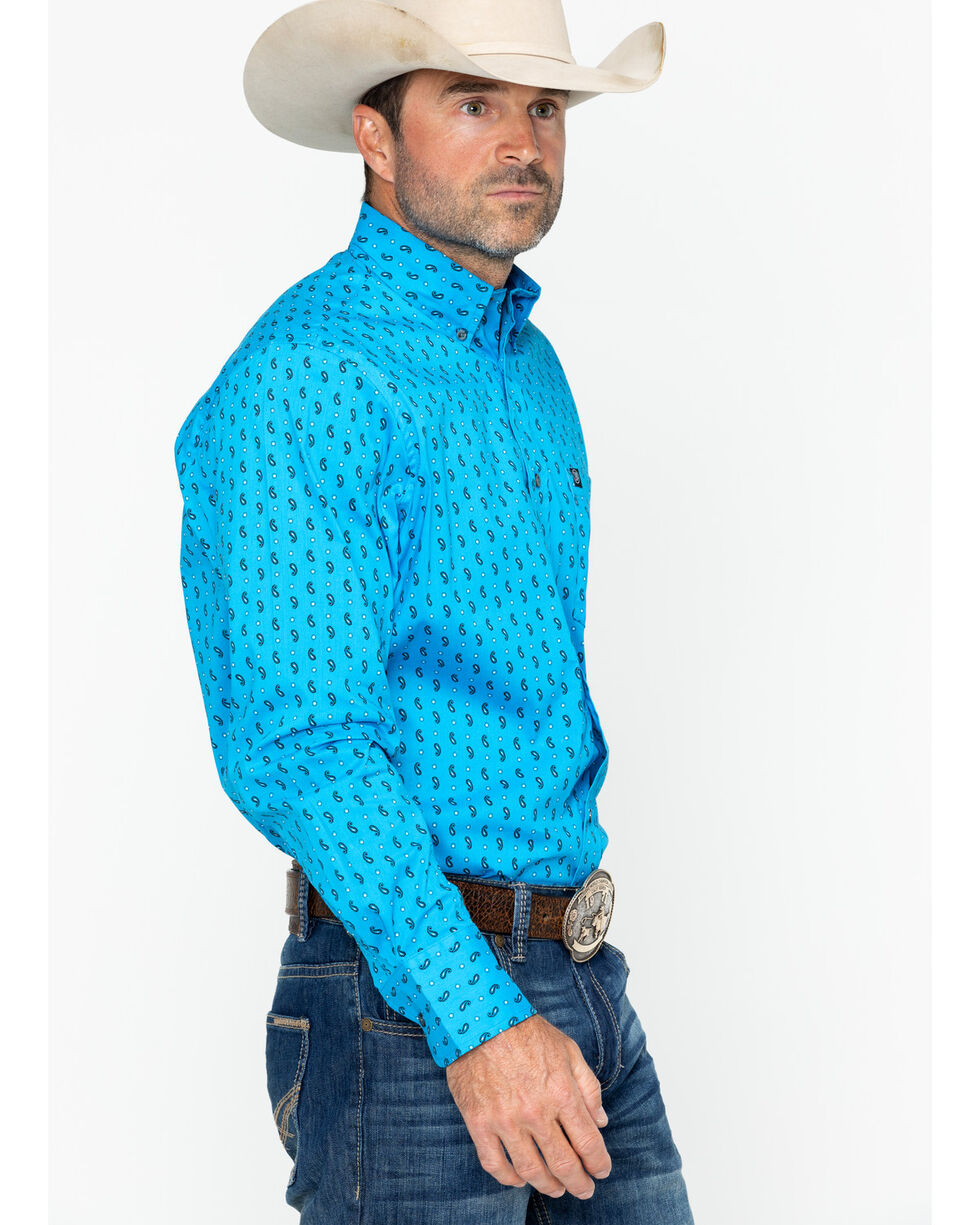Wrangler Men's Turquoise Paisley Print Long Sleeve Performance Shirt , Turquoise, hi-res