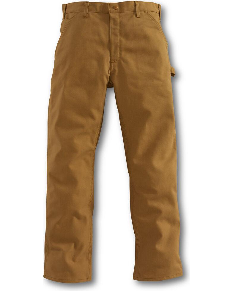 Carhartt Men's Flame-Resistant Duck Dungaree Work Pants, Brown, hi-res