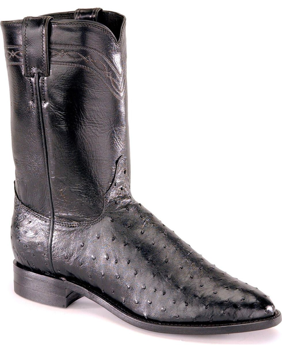"Justin Men's 10"" Full Quill Ostrich Exotic Boots, Black, hi-res"
