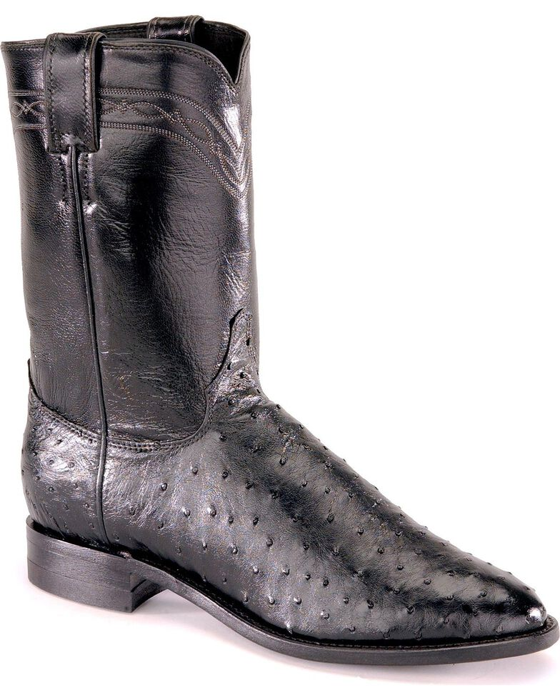 """Justin Men's 10"""" Full Quill Ostrich Exotic Boots, Black, hi-res"""