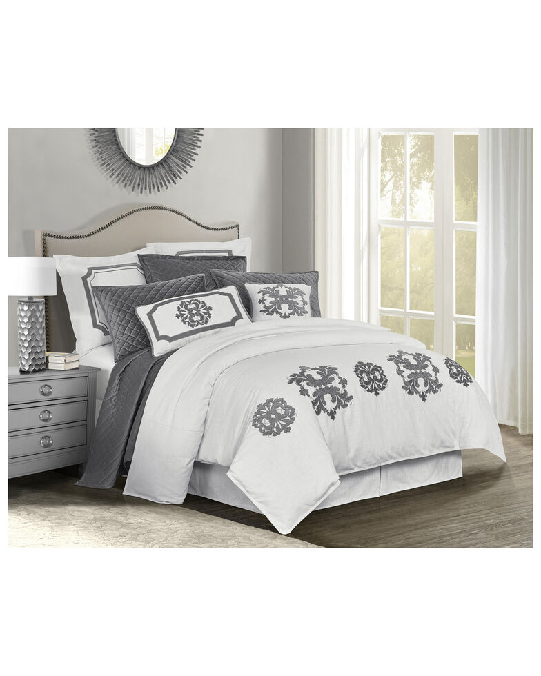HiEnd Accents Super Queen Gray Madison Linen Duvet, Grey, hi-res