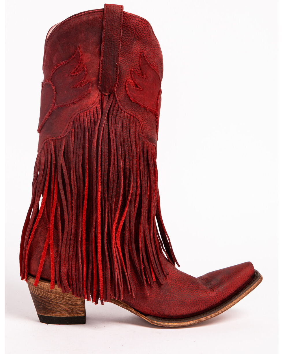 Lane Women's Dreamer Western Boots - Snip Toe , Red, hi-res