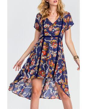 Miss Me Women's Navy Floral Short Sleeve Dress, Navy, hi-res