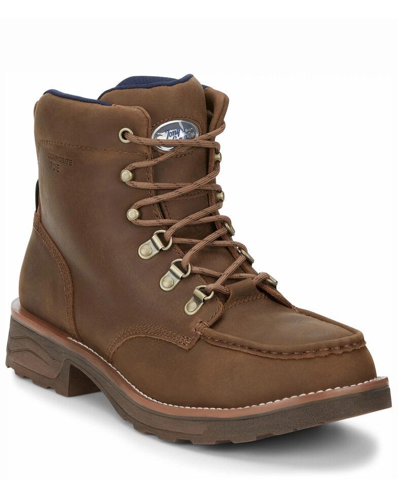 Tony Lama Men's Conductor Waterproof Work Boots - Composite Toe, Brown, hi-res